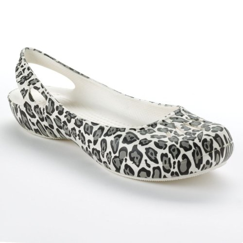 Crocs Sling (Crocs Genuine Thea Slingback Flats Ivory/black Leopard Print Womens (9))
