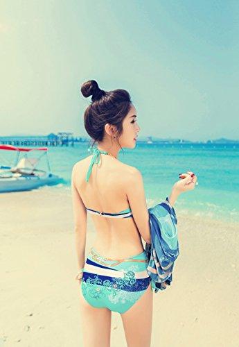 Traje de baño de las mujeres de pecho pequeño recoger el triángulo siamés atractivo fue Thin Cover Belly Braid gran pecho Bubble Hot Spring traje de baño Azul claro