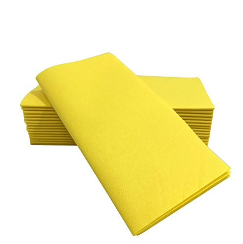 "Simulinen Dinner Napkins – Disposable, YELLOW, Cloth-Like – Elegant & Heavy Duty, Soft & Absorbent, Like Paper but Better! 16""x16"" – Box of 50 (Napkin Yellow Paper)"