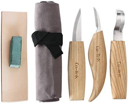 Cuchillo de Gancho de Talla de Madera para tallar cucharas Tazones Kuksa y Tazas, Herramientas de Tallado de Cuchara para diestrus Viene con un ...