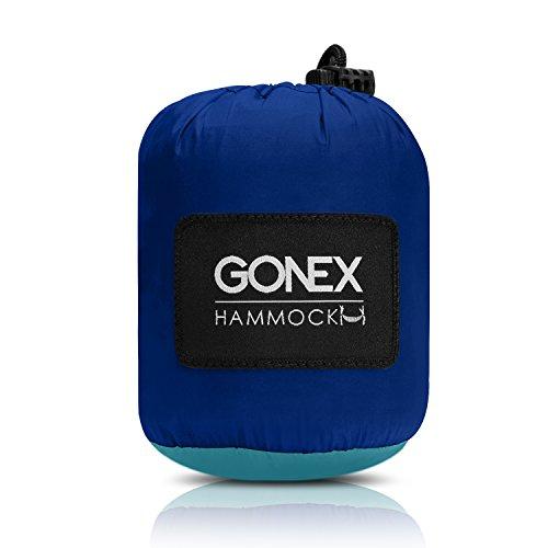 Gonex Portable Camping Hammock, Nylon Parachute Single Hammock for Travel Camp with Hammock Straps, Ultralight (Dark blue+Light blue)