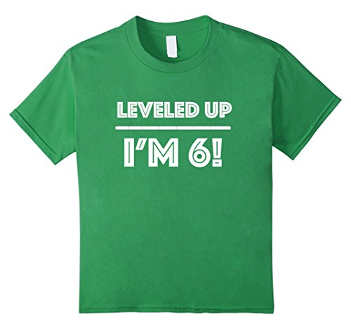 unisex-child Leveled up! Happy 6th Birthday Boy T-Shirt 6 Grass