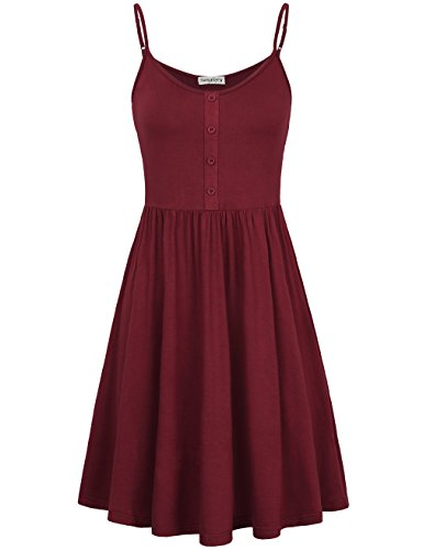 SUNGLORY Swing Dress,Ladies Party Beach Sleeveless Dress with Button Red Wine S