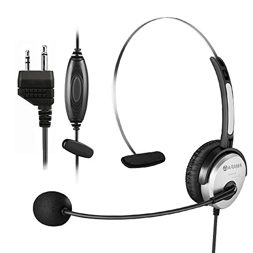 Arama PTT MIC Headphone Headset w/ Adjustable Band for Midland GMRS FRS Radios by Arama