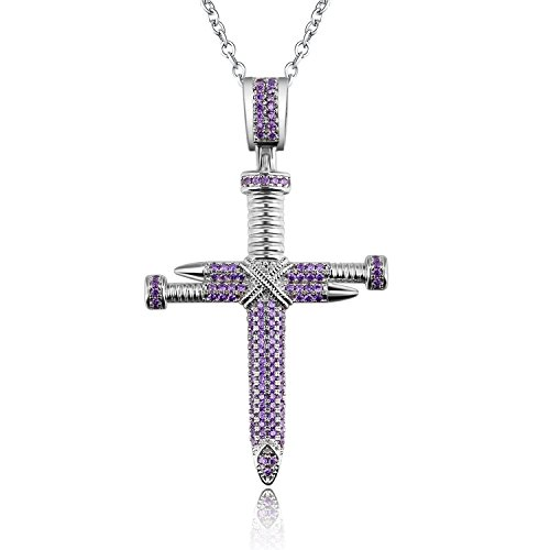 (Voinnia 925 Sterling Silver Plated Nail Cross Pendant Necklace for Women (Color : Purple))