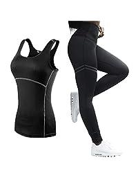 Sleeveless Yoga Set Women Running Fitness Sport Vest+Pants Yoga Leggings Gym Clothes