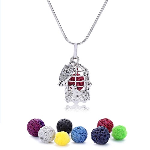 ZEEWELY Aromatherapy Essential Oil Diffuser Necklace - Hypoallergenic 316L Surgical Grade Stainless Steel 20 inch Adjustable Chain, and 7 Colours Lava Stone Beads- Perfect Gift for Mother's Day (Box Chain 55mm)