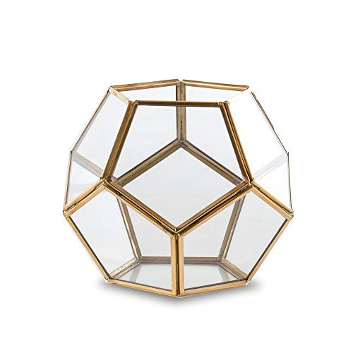 Madeleine Home Rochefort Brass & Clear Glass Hurricane Lantern | Decorative Antique Geometric Terrarium Candle Holder for Home Decor, Table Top Centerpiece, Mantle, Porch, Patio and More | Indoor ()