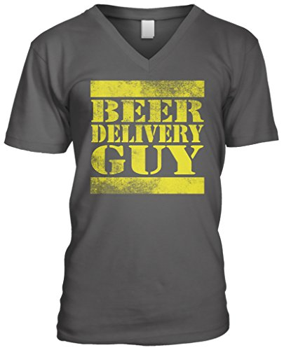 Blittzen Mens V-neck Beer Delivery Guy, L, Charcoal (Guy T-shirt Delivery Beer)
