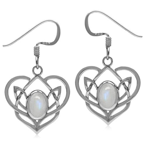 Natural Moonstone 925 Sterling Silver Celtic Heart Knot Dangle Earrings-Light Weight ()