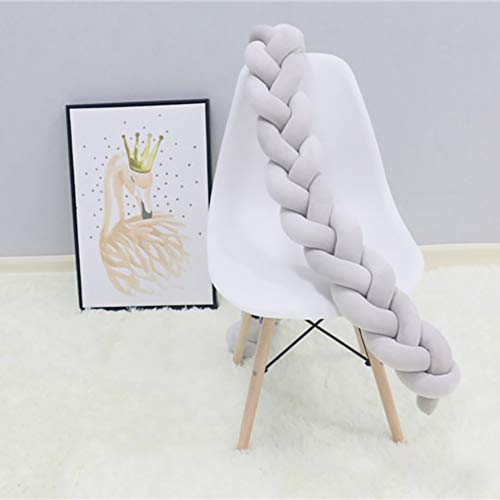 Infant Soft pad Braided Crib Bumper Knot Pillow Cushion Cradle Decor for Baby Girl Boy-Gray L:200cm(78inch)