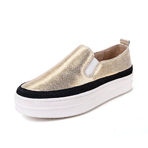 Meeshine Womens Leather Slip On Platform Loafer Fashion Sneakers Comfort Moccasins Flats Shoes Gold