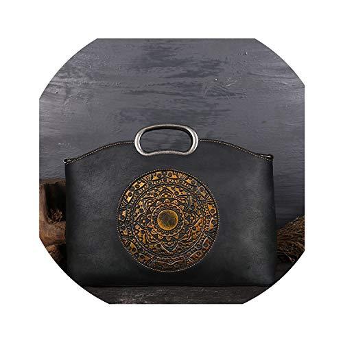 2019 Women Genuine Leather Handbags Luxury Brand Ladies Cow Leather Totes Big Capacity Manual Painting Shoulder Bags,Dark Gray