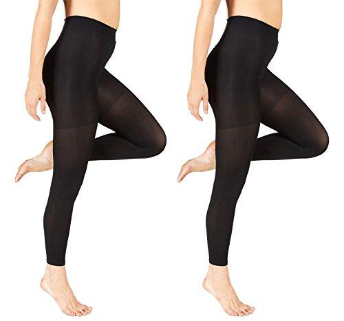 Marilyn Monroe Womens Ladies 2Pack Control Top Footless Opaque Tights Black/Black (Control Top Footless Pantyhose)