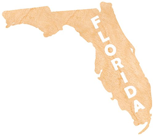 aMonogram Art Unlimited State Of Florida Wooden Shape With State Name and 1/4 Burch plywood Wall Decor, 18''