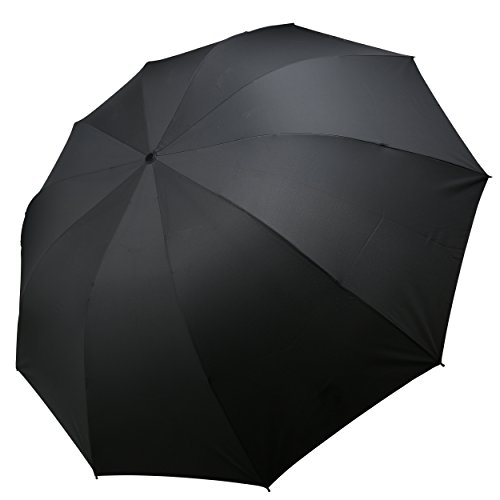 Queenshow Foldable Big Umbrella Compact with Light Weight Travel Umbrella Extra Large Size, Black
