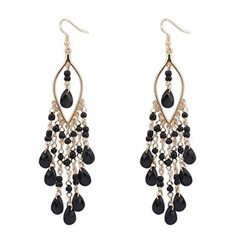 Mnyycxen 1Pair Women Charm Bohemian Colorful Beads Ear Drops Dangle Tassels Earrings