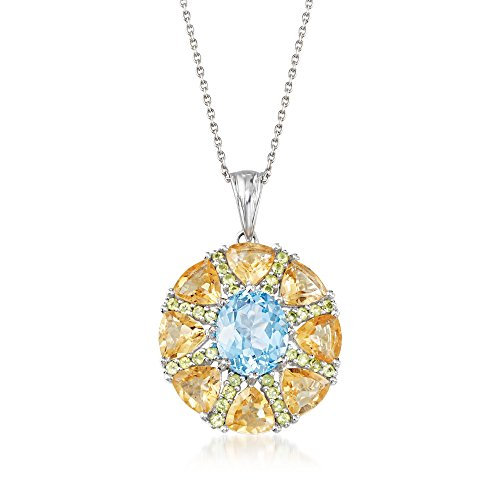 - Ross-Simons 9.00 ct. t.w. Multi-Stone Starburst Pendant Necklace in Sterling Silver