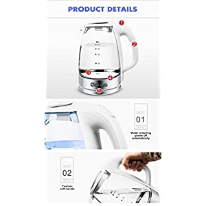 Glass Electric Kettle 2 Liter BPA Free Fast Boiling Tea Kettle 1500 Watts High Transparent Glass Blue Glow Water Pot Stainless Steel Internal Cap & Chassis One Key Auto Open Lid ( White )