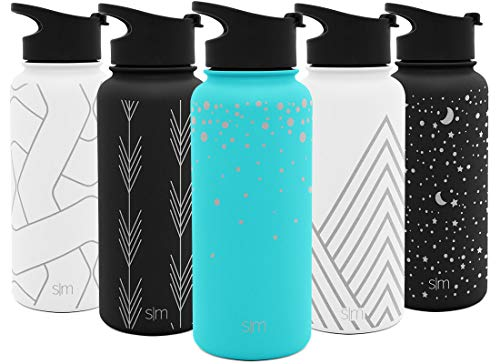 Simple Modern 22 oz Summit Water Bottle - Stainless Steel Starbucks Flask +2 Lids - Wide Mouth Double Wall Vacuum Insulated Leakproof Thermos Design: Falling Stars