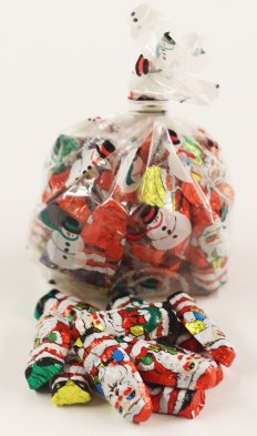 - Scott's Cakes Foil Wrapped Solid Milk Chocolate Santas in a 1 Pound Snowman Bag