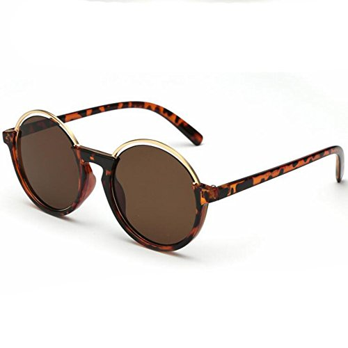 Guanta 2016 High Grade Round Frame Fashion Lady Sunglasses Reflective Half Frame(Coffee)