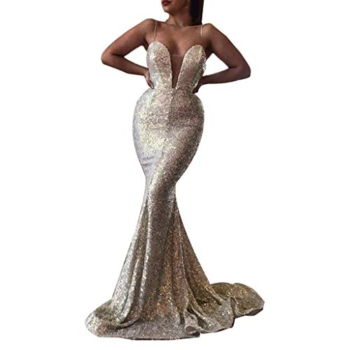 Women's Sequins Mermaid Prom Dress,Spaghetti Straps Deep V Neck Backless Gowns Wedding Evening Maxi Floor Length Dress (Silver, XL)