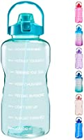 EYQ 1 Gallon/128 oz Water Bottle with Time Marker, Carry Strap and Motivational Quote, Leak-Proof Tritan BPA-Free,...