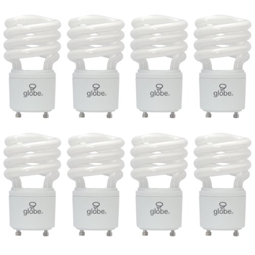 Globe Compact Fluorescent Light Bulb - 13W Ultra-Mini Enersaver T3 Compact Fluorescent Light Bulb, GU24 Base, Soft White, 8 Pack, Globe Electric 01142