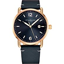 Stuhrling Original Blue Leather Watch Rose Gold Plated Case with Blue Dial - Vintage Style 38mm Case with Date - 3901 Mens Watches Collection