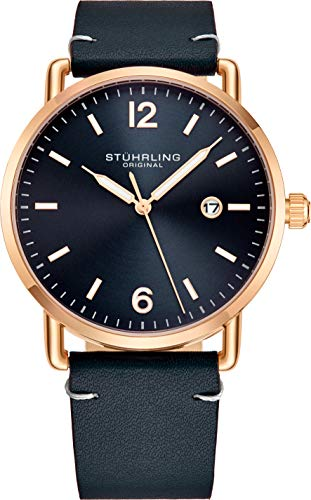 Stuhrling Original Blue Leather Watch Rose Gold Plated Case with Blue Dial - Vintage Style 38mm Case with Date - 3901 Mens Watches Collection (Rose Gold Plated Watch)