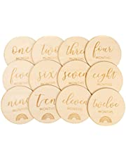 TOYANDONA Baby Monthly Milestone Cards Monthly Photo Cards Wooden Birth Announcement Sign Wooden Discs Hand- Crafted Circle Milestone Block for Baby Shower Gender Reveal Party 12PCS