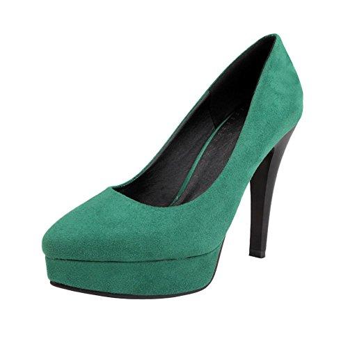 Mee Shoes Damen Nubukleder Plateau high heels Pumps Grün