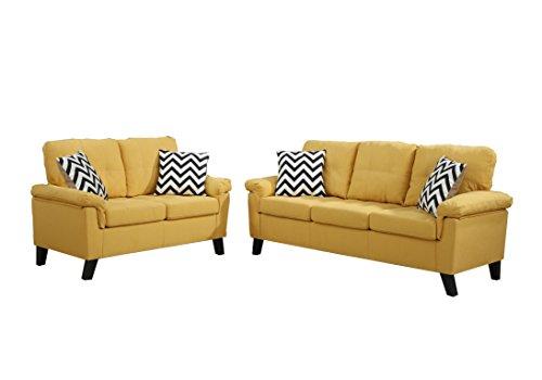 (Poundex F6906 Bobkona Tyler Linen-Like 2 Piece Sofa and Loveseat Set, Citrus)