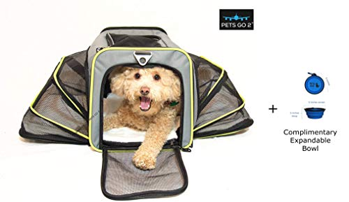 Premium Small Pet Carrier for Puppies, Small Dogs & Cats - Airline Approved - Expandable Walls for More Room, Top and Side Exits, Ultimate Comfort with Sherpa Padding, Washable, Durable Construction