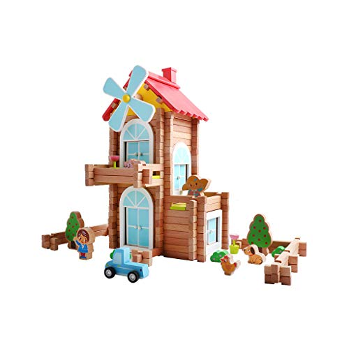 LIUFS-TOY House Handmade Cottage Gift Children Building Blocks Toys Puzzle Wooden Assembled House Villa (Size : Windmill Small Courtyard - 171)