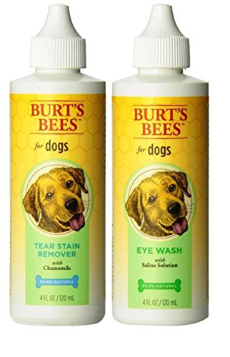 Burt's Bees for Dogs Eye Care Bundle: (1) Burt's Tear Stain Remover with Chamomile, and (1) Eye Wash with Saline Solution, 4 Oz. Ea. (Burts Bees Comb)