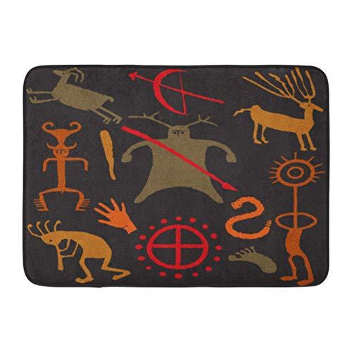 Emvency Doormats Bath Rugs Outdoor/Indoor Door Mat Brown Kokopelli Warrior Caveman Weapons People Animals and Symbols Tan Ancient Bathroom Decor Rug Bath Mat 16
