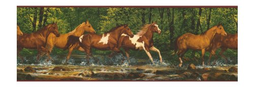 York Wallcoverings Lake Forest Lodge WL5506B Running Horses Border, Multi/Brown Band (Western Border)