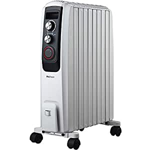Pro Breeze Radiador de Aceite 2000W - 8 Elementos, 3 Configuraciones de Calor, Temporizador y Termostato