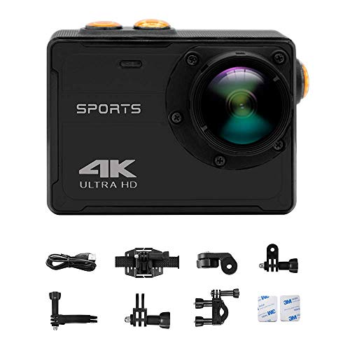4K WiFi Sports Action Camera Ultra HD Waterproof DV Camcorder 16MP 150 Degree Wide Angle 2 Inch LCD Screen and Mounting Accessories Kits (No Housing Needed, Black)
