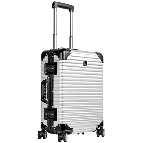 LANZZO Aluminum Magnesium Alloy Luggage with Spinner Wheels TSA Lock Approved Hardshell Travel Suitcase, 20inches, Silver