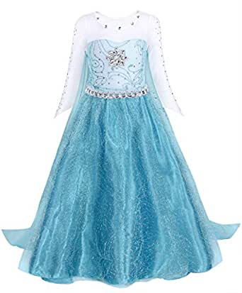 AmzBarley Girls Princess Elsa Fancy Dress Sequin Snowflake Cape Birthday Party Halloween Costume Dress Up Outfit Blue