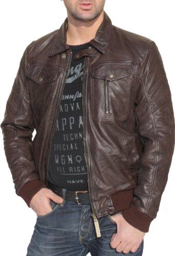 Lederjacke Trend Fashion lammnappa echtleder Jacke Nappa Leder dunkelbraun, Größe:52/XL