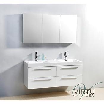 54 vanity double sink. Virtu USA JD 50754 GW 54 Inch Finley Double Sink Bathroom Vanity  WG