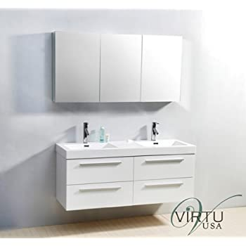 54 inch double sink vanity. Virtu USA JD 50754 GW 54 Inch Finley Double Sink Bathroom Vanity  PL