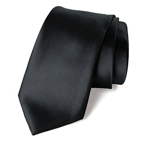 Spring Notion Men's Solid Color Satin Microfiber Tie, Skinny Black (Black Formal Tie)