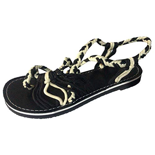 (TANGSen Women Ladies Hemp Rope Flip Flops Sandals Flat Summer Casual Fashion Roman Beach Shoes Slippers Brown)