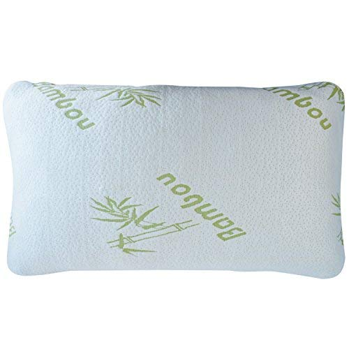 HuiYin PREFERRED INNOVATION comfort and ease & Relax Bamboo Shredded memory polyurethane foam Pillow formula together with Bamboo Fiber Cover Zipper easily-removed Breathable Cooling Hypoallergenic Pillow Cover, Queen