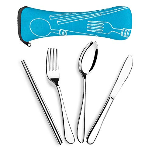 SUPERSUN 4 Pieces Reusable Cutlery Set Travel, Knife Fork Spoon Chopsticks Set, Travel Camping Cutlery Set with Neoprene Case, Reusable Lunch Box Utensils, Portable Travel Silverware Set